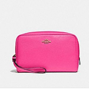 New! Coach Leather Boxy Cosmetic Bag
